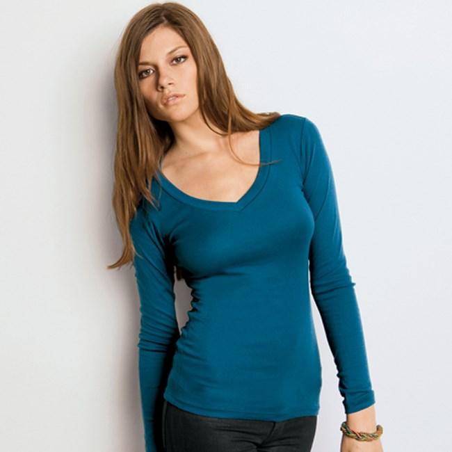 Bella B8750 Ladies' Long Sleeve V-Neck Tee