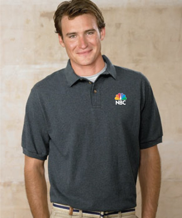 055em custom embroidered hanes pique knit polo shirt for Polo shirts with embroidery