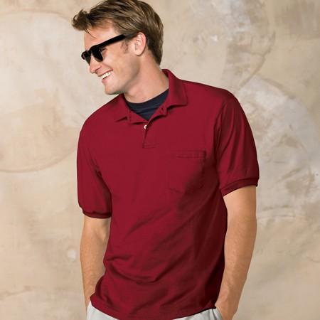 Hanes 054p 50 50 Jersey Knit Pocket Polo Shirt