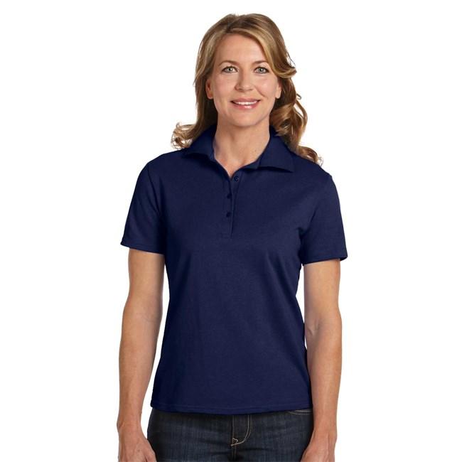 Hanes 035 ladies 39 cotton pique polo shirt for Ladies pique polo shirts