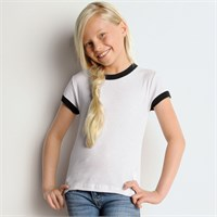 Bella Girls' 1x1 Baby Rib Ringer T-Shirt