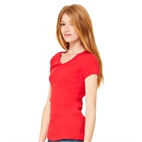 Bella Ladies' Baby Rib V-Neck T-Shirt