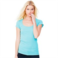 Bella Ladies' Sheer Ribbed Scoop Neck T-Shirt