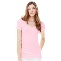Bella Ladies's Tissue Jersey Deep V-Neck T-Shirt