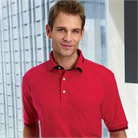 Harriton Cotton Jersey Knit Polo Shirt with Tipped Collar