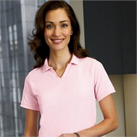 Harriton Ladies' Cotton Jersey Knit Polo Shirt with Tipped Collar