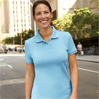 Harriton Ladies' Ringspun Cotton Pique Knit Polo Shirt