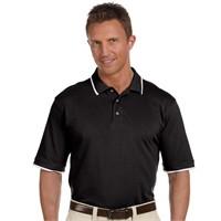 Harriton Pique Knit Polo Shirt with Tipped Collar