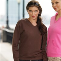 LAT Ladies' French Terry Long Sleeve V-Neck Pullover